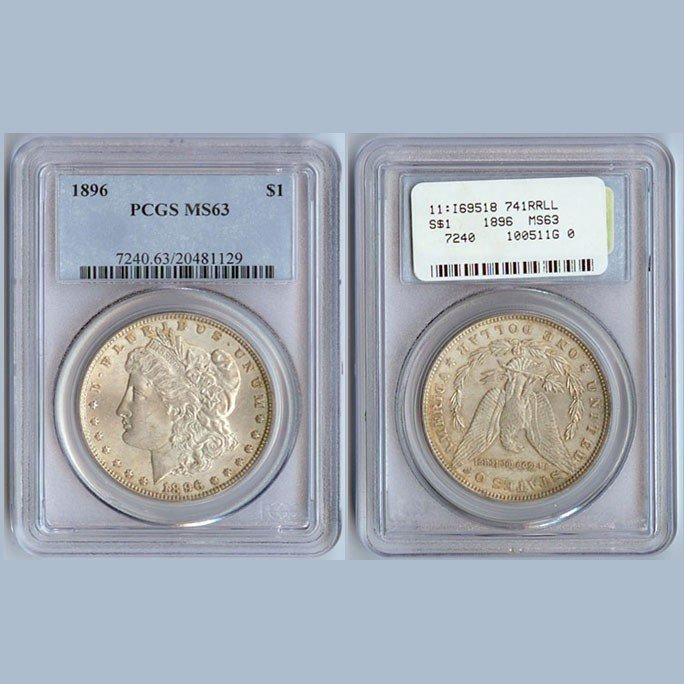 1896 Morgan Silver Dollar Coin PCGS MS63