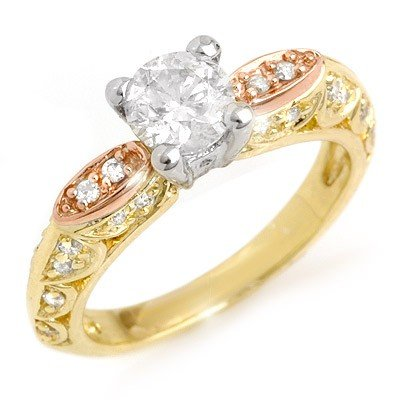 Natural 1.10 ctw Diamond Ring 14K Multi tone Gold
