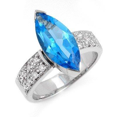 Genuine 4.12 ctw Blue Topaz & Diamond Ring 14K Gold