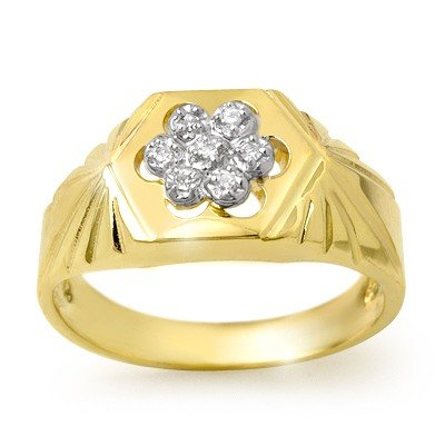 Natural 0.10 ctw Diamond Men's Ring 10K Yellow Gold