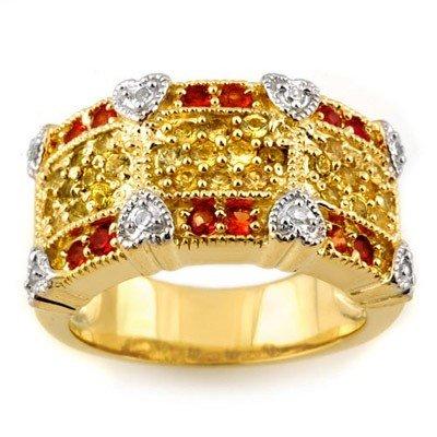 Genuine 1.75ct Red, Yellow Sapphire & Diamond Ring Gold