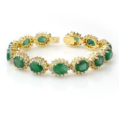 Genuine 30.05ctw Emerald & Diamond Bracelet Yellow Gold