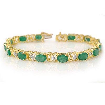 Genuine 12.05ctw Emerald & Diamond Bracelet Yellow Gold