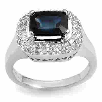 Genuine 2.90 ctw Blue Sapphire & Diamond Ring 14K White