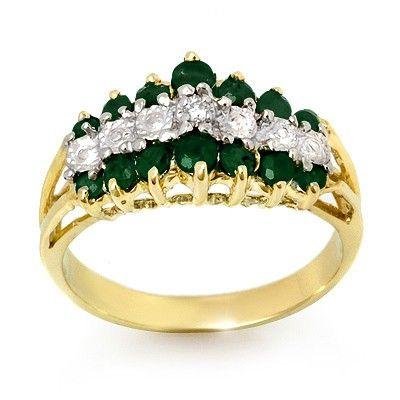 Genuine 1.0 ctw Emerald & Diamond Ring 10K Yellow Gold