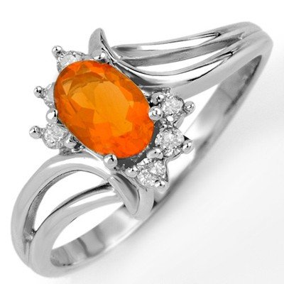 Genuine 0.50ctw Fire Opal & Diamond Ring 10K White Gold