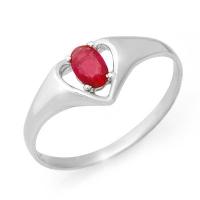 Genuine 0.25 ctw Ruby Ring 10K White Gold