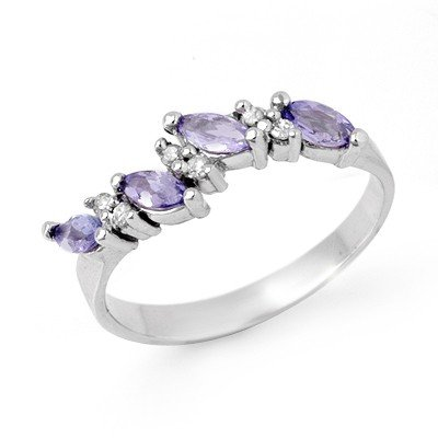 Genuine 0.75ctw Tanzanite & Diamond Ring 10K White Gold