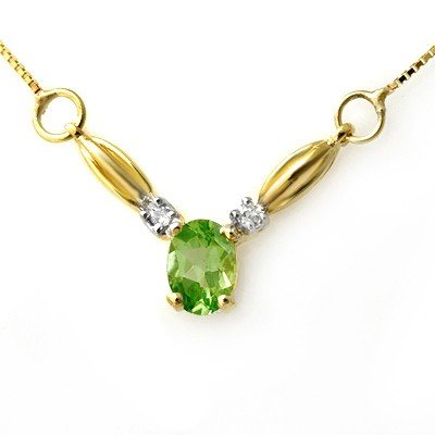 Genuine 1.30 ctw Peridot & Diamond Necklace Yellow Gold