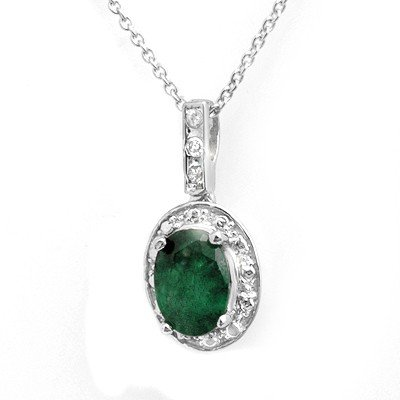 Genuine 1.02 ctw Emerald & Diamond Pendant White Gold