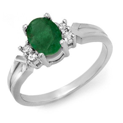 Genuine 0.87 ctw Emerald & Diamond Ring 10K White Gold