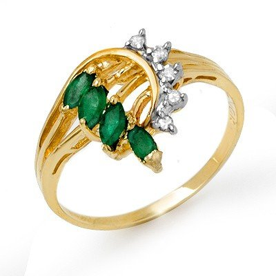 Genuine 0.55 ctw Emerald & Diamond Ring 10K Yellow Gold