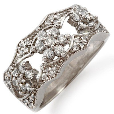 Natural 0.90 ctw Diamond Ring 14K White Gold