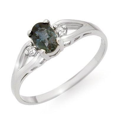 Genuine 0.52 ctw Sapphire & Diamond Ring 10K White Gold