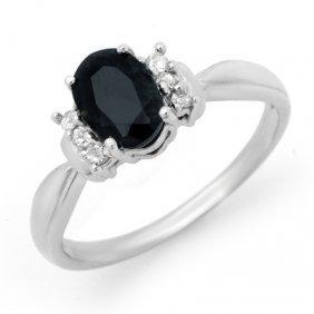 Genuine 1.05 Ctw Sapphire & Diamond Ring 10K White Gold