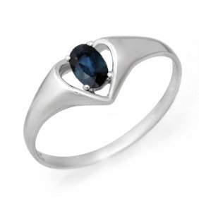 Genuine 0.33 ctw Sapphire Ring 10K White Gold