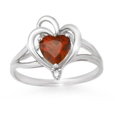Genuine 0.87 ctw Garnet & Diamond Ring 10K White Gold