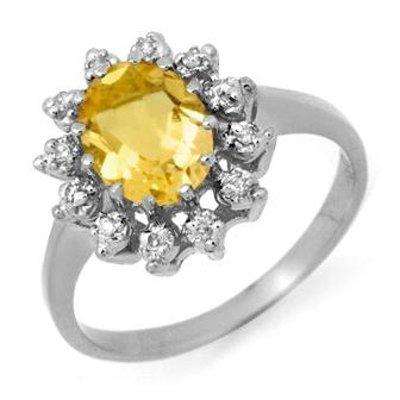 Genuine 1.14 ctw Citrine & Diamond Ring 10k Gold