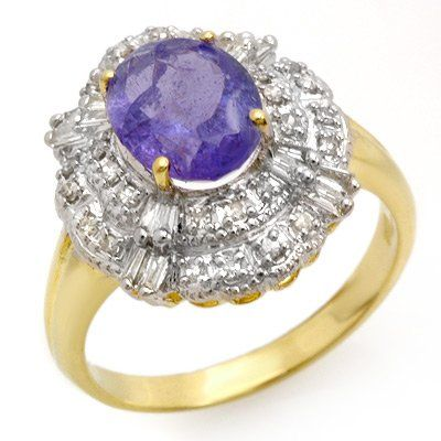 Genuine 2.70ct Tanzanite & Diamond Ring 14K Yellow Gold