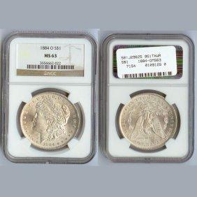 1884-O Morgan Silver Dollar Coin NGC MS63