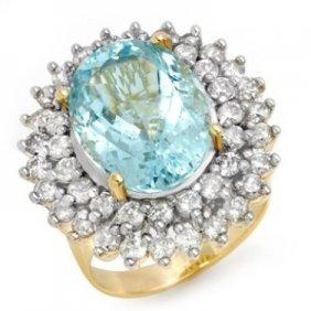 Genuine 10.5 Ctw Aquamarine & Diamond Ring 14K Gold