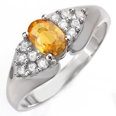 Yellow Sapphire & Diamond 0.90 ctw Ring 10K White Gold