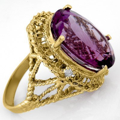 Genuine 13.03ctw Amethyst & Diamond Ring Yellow Gold