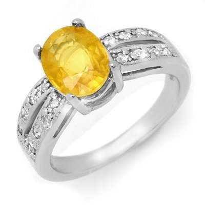 Genuine 2.82 ctw Yellow Sapphire & Diamond Ring 14K Whi