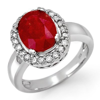 Genuine 4.65 ctw Ruby & Diamond Ring 10K White Gold