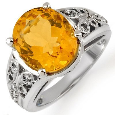 Genuine 5.15 ctw Citrine & Diamond Ring 10K White Gold