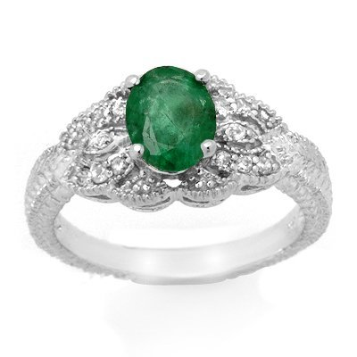 Genuine 1.85 ctw Emerald & Diamond Ring 14K White Gold