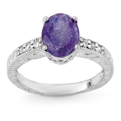 Genuine 2.68ct Tanzanite & Diamond Ring 14K White Gold