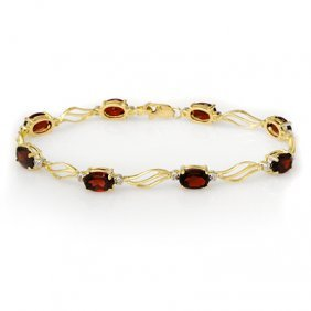 Genuine 8.02 Ctw Garnet & Diamond Bracelet Yellow Gold