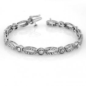 Natural 1.0 Ctw Diamond Bracelet 10K White Gold