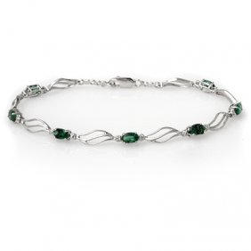 Genuine 2.02 Ctw Emerald & Diamond Bracelet White Gold