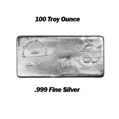 100 Troy Ounce Silver Bar .999 Fine Silver quality