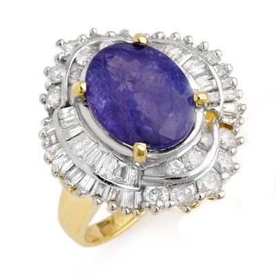 Genuine 6.0ct Tanzanite & Diamond Ring 14K Yellow Gold