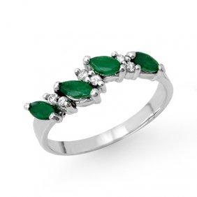 Genuine 0.61 ctw Emerald & Diamond Ring 10K White Gold