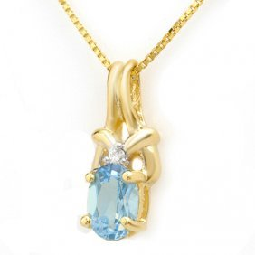 Genuine 0.91 Ctw Blue Topaz & Diamond Pendant 10K Gold