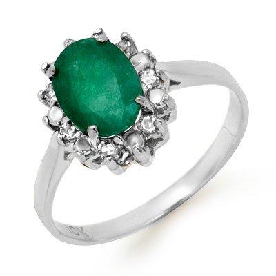 Genuine 1.27 ctw Emerald & Diamond Ring 10k Gold