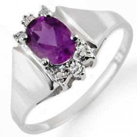 Genuine 1.23 Ctw Amethyst & Diamond Ring 10K White Gold