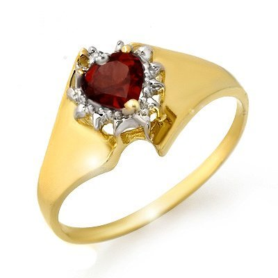 Genuine 0.52 ctw Garnet & Diamond Ring 10K Yellow Gold
