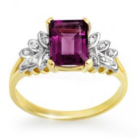 Genuine 1.52ctw Amethyst & Diamond Ring 10K Yellow Gold