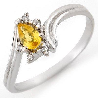 Genuine 0.35ctw Yellow Sapphire & Diamond Ring 10K Gold