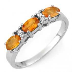 Genuine 1.33 Ctw Orange Sapphire & Diamond Ring 10K Whi