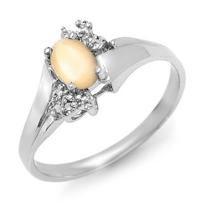 Genuine 0.35 ctw Opal & Diamond Ring 10K White Gold