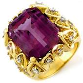 Genuine 144ctw Amethyst  Diamond Ring 10K Yellow Gold