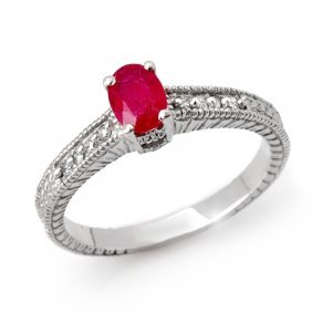 Genuine 1.01 Ctw Ruby & Diamond Ring 14K White Gold