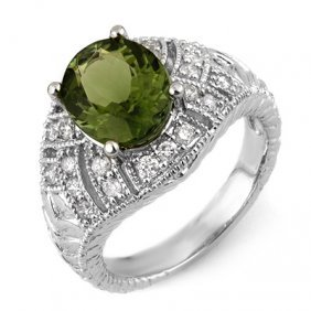 Genuine 3.6ctw Green Tourmaline & Diamond Ring 14K Gold