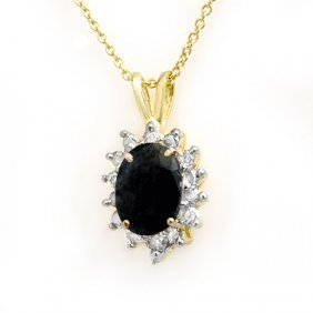 Genuine 1.0 Ctw Sapphire & Diamond Pendant Yellow Gold